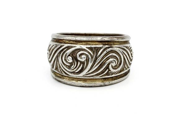 Floral Scroll ring Embossed sterling ring 925 silver ring