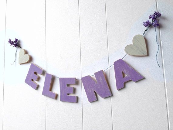 Nursery name sign  wooden banner  children's room by OldNewAgain, $40.00