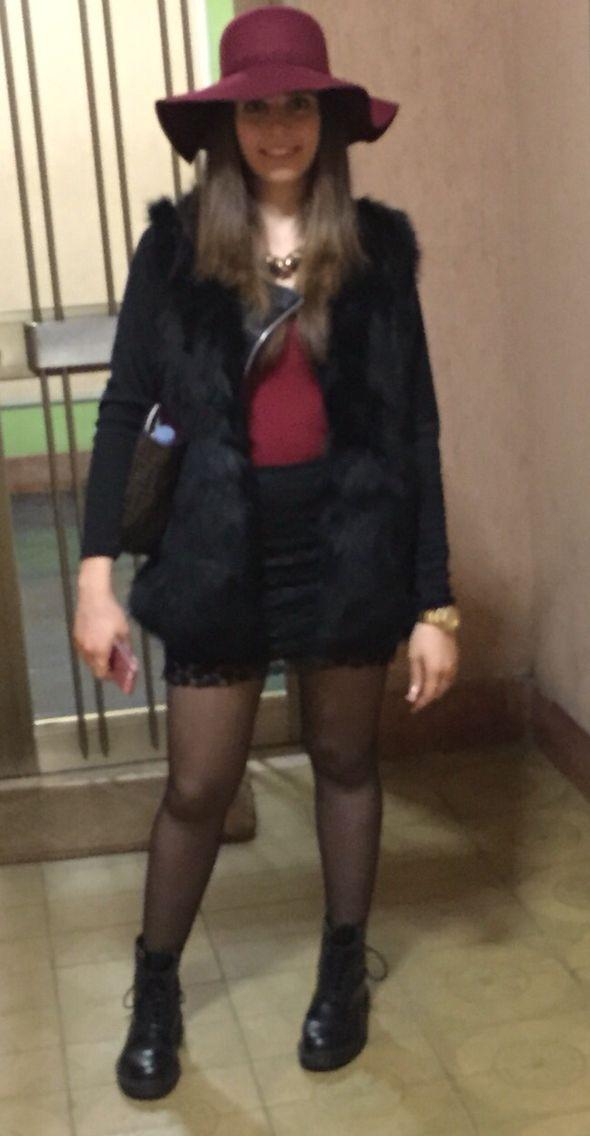 Winter look!  Hat-top-Skirt