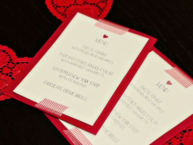 Free Valentine's Day dinner menu template.