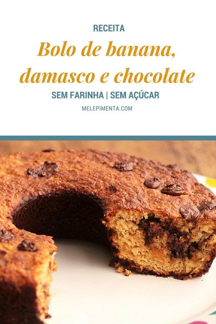 Bolo de banana, damasco e chocolate - Sem farinha e sem açúcar    Faça esse bolo delicioso que é feito banana, damasco e chocolate. A receita é sem farinha, sem açúcar, mas muito gostosa. Confira a receita!
