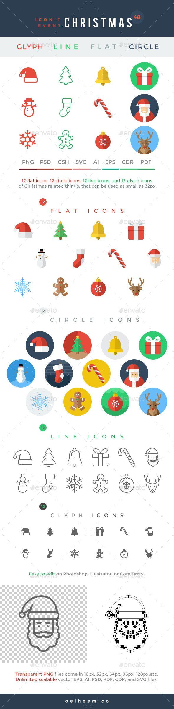 Icon't Event  48 Christmas Icons — Photoshop PSD #reindeer #flat • Download ➝ https://graphicriver.net/item/icont-event-48-christmas-icons/19080692?ref=pxcr