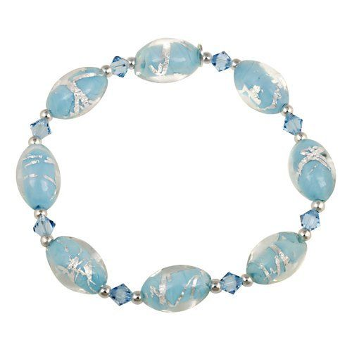 "Sterling Silver Multi-Blue Hand Blown Glass Oval Bead and Crystal Bracelet, 7.5"" Amazon Curated Collection. $14.00. Made in Thailand. Save 30% Off!"