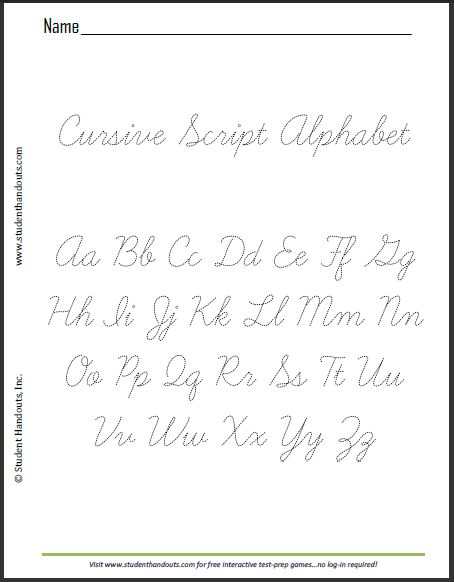 Free Printable Dashed Cursive Script Alphabet Practice Sheet