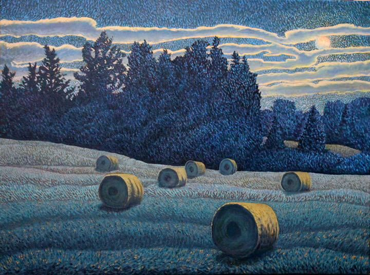 Night Bales, Shelter Valley 2014 Oil 18 x 24 in @ontrails @perfectwknds @SteveMartinToGo @TheAGH @SaatchiArt #fineart
