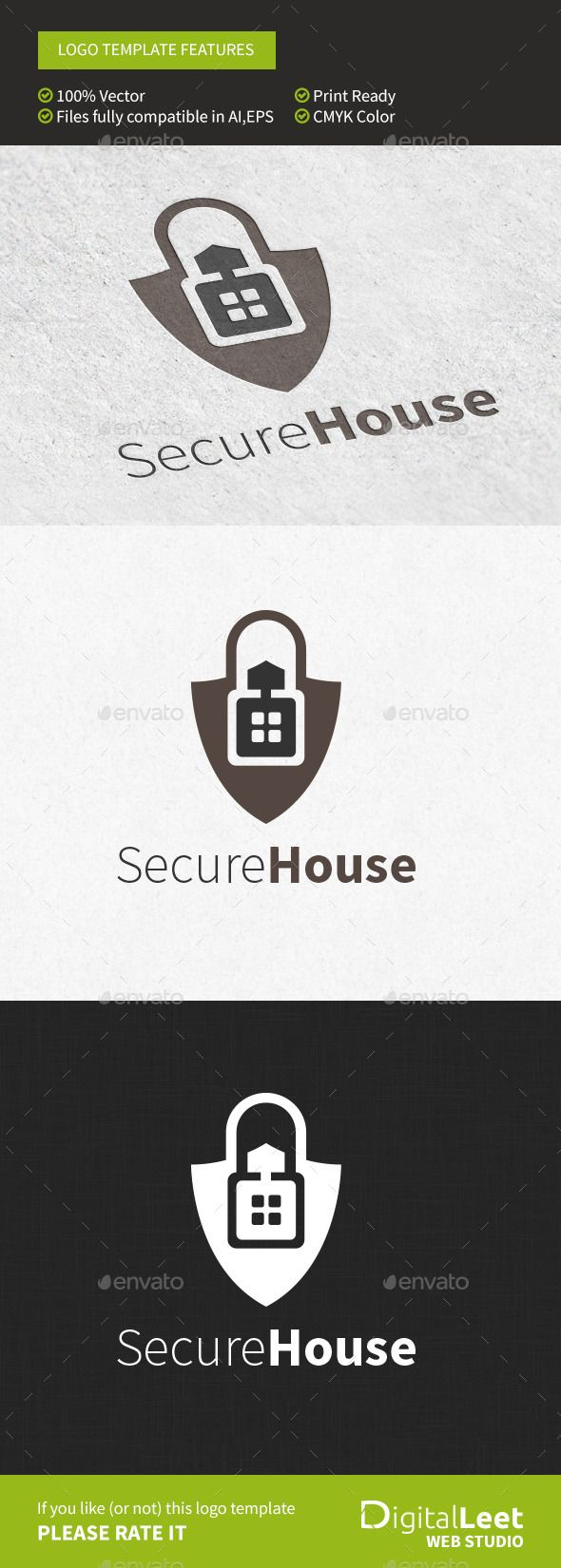 Secure House  Logo Template — Vector EPS #home #interactive • Available here → https://graphicriver.net/item/secure-house-logo-template/8956114?ref=pxcr