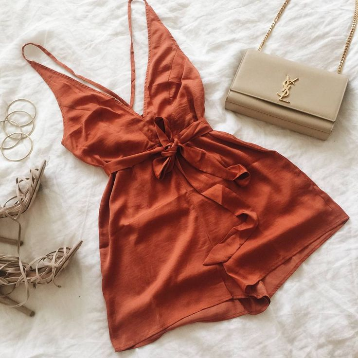 Silk + burnt orange tones for a fresh weekend look! || Shop the Fireworks Playsuit    SHOP PLAYSUITS --> www.muraboutique.com.au  #muraboutique #fashion #style #burntorange #playsuit #summer #party #girly #girl