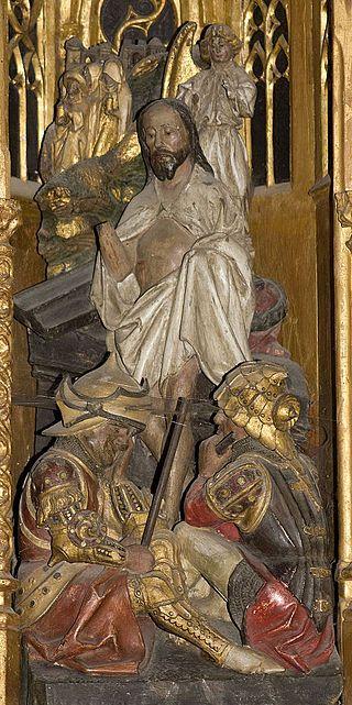 K-Retable de la Passion-La résurrection - Category:Retable de la Passion (Ambierle) — Wikimedia Commons