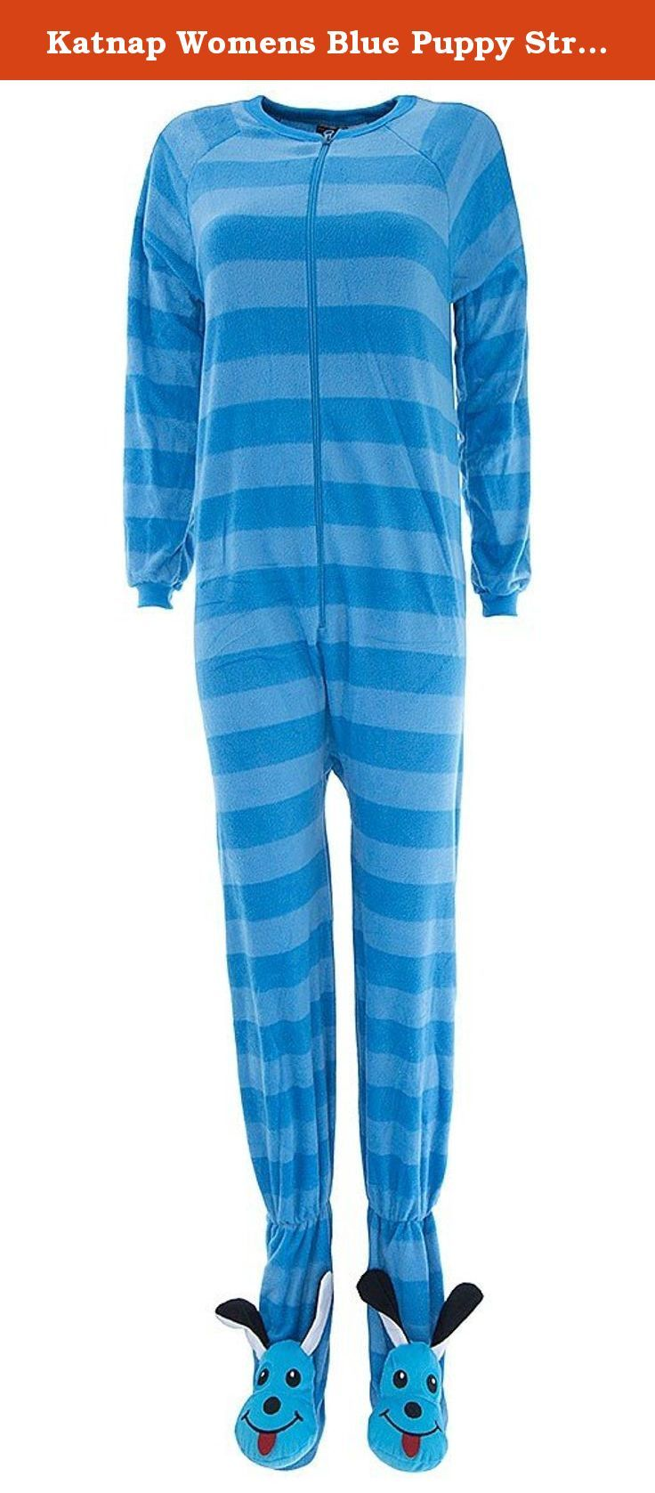 Katnap Womens Blue Puppy Striped Footed Pajamas M. These fleece, footed pajamas are made of warm micro polar fleece. They feature a fun, animal print. The brand is Katnap. They zip up the front. The soles of the feet have a non-skid finish.
