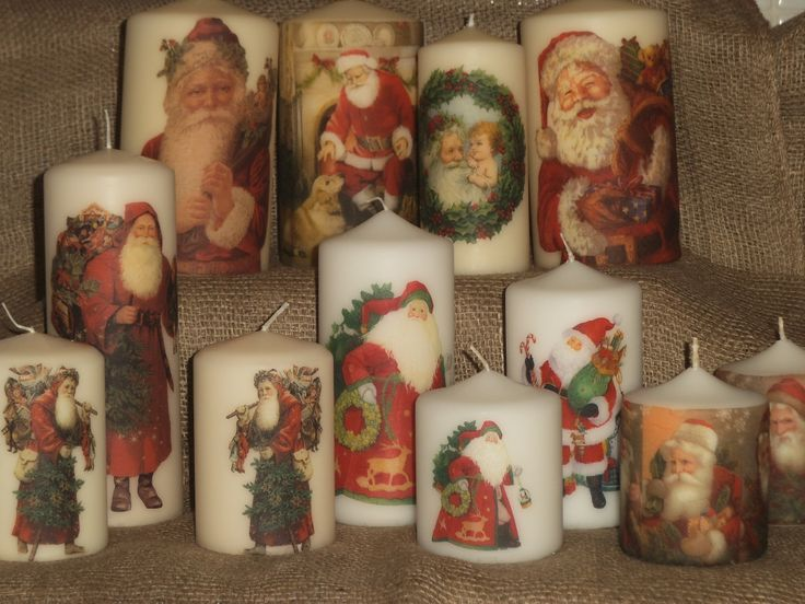 For me, Christmas isn't Christmas without a Santa candle! Napkin decoupage-decorated Father Christmas candles for Xmas 2013 available from Your Lovely Home on Folksy.com or message Your Lovely Home on Facebook