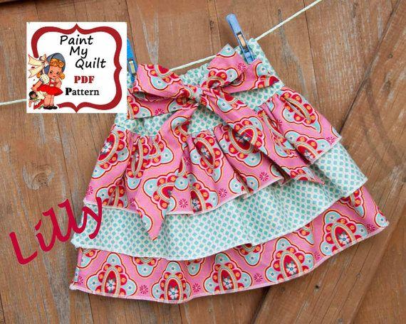Girls skirt pattern pdf instant download ruffle easy