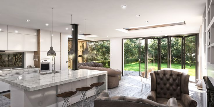 THORPE LEA ROAD  A contemporary extension with a spacious open plan kitchen dining area with a connection to their garden. Bi-fold doors.