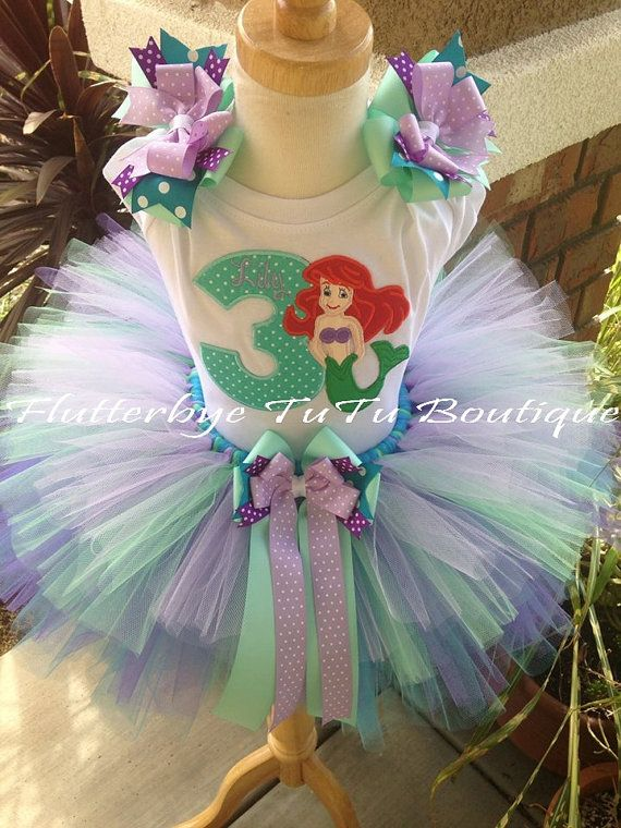 Happy Birthday Little Mermaid Ariel Costume TuTu by flutterbyetutu, $54.50