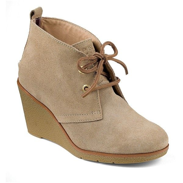 Sperry Harlow Wedge Bootie ($60) ❤ liked on Polyvore featuring shoes, boots, ankle booties, sand, wedge bootie, lace-up wedge booties, lace up wedge bootie, lace up booties and lace up ankle booties