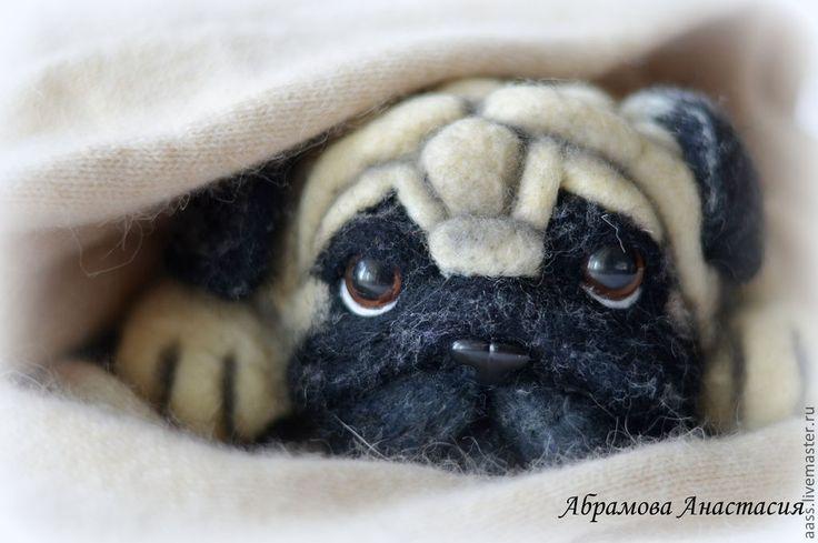 Купить Мопс. Валяная игрушка. - чёрно-белый, бежевый, мопс, мопсик, собака, собачка, подарок