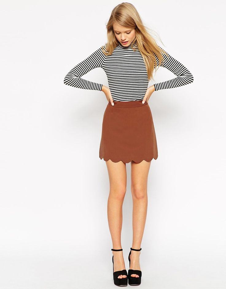 ASOS+A-Line+Mini+Skirt+with+Scallop+Hem