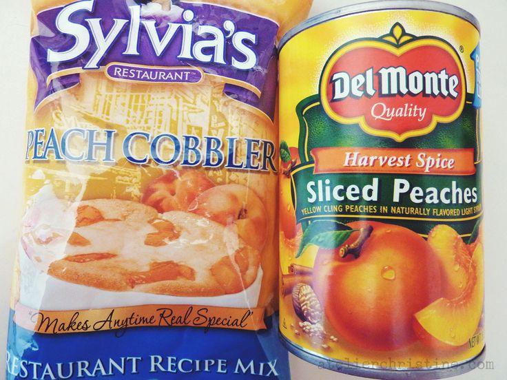 Not From-Scratch PEACH COBBLER, a Sylvia's Restaurant Recipe Mix.