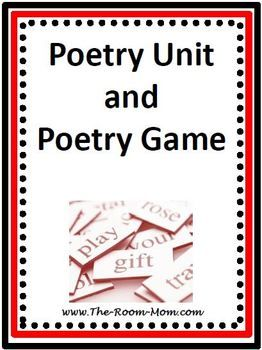 Poetry Unit and Poetry Game (Figures of Speech)-- activities support students in writing original poems using 4-5 different figures of speech. $