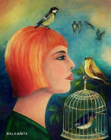 Blue bird - Kék madár Acrylic on canvas - 50 x 40 cm - by Márta Bolla -  Hungary