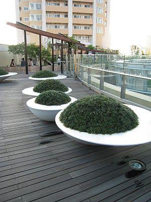 Modern White Planters ~ Visit www.shapedscape.com for more Landscape Inspiration