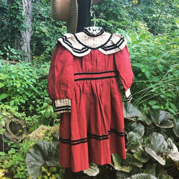 3 pieces ~Antique hand stitched child's red dress~French straw hat~ button up shoes clothing~~ props from MilkweedVintageHome by MilkweedVintageHome on Etsy