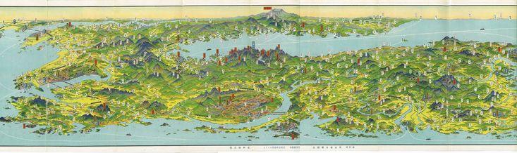 Bird's Eye View map of part of the Korean Peninsula, by Hatsusaburo Yoshida (1884-1955), the most popular Japanese cartographer of his time