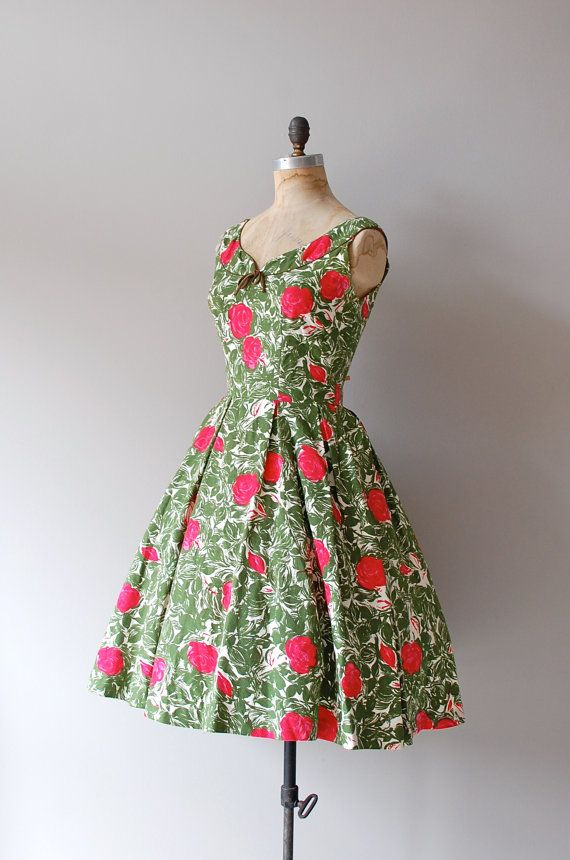 CLV: Green, white, pink and red floral vintage 1950's dress #green #white #pink #red #floral #vintage #1950s #dress #clothing