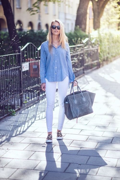 blue button down + white jeans + leopard slip ons