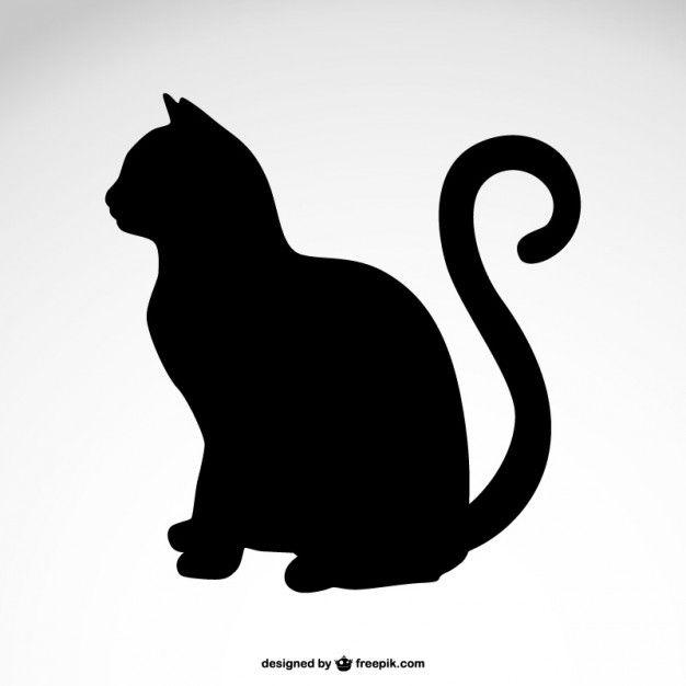 Silhueta do gato vetor livre                                                                                                                                                     Mais