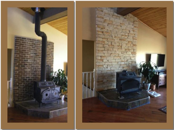 The Corbett Family in Calgary Alberta did a fantastic job on their latest DIY project! They transformed their brick fireplace to a gorgeous Frontier Ledge Winter Pearl backed Fireplace. www.KodiakMountain.com