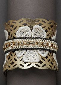 Mixed Media Applique Cuff, Style SB2969 #davidsbridal #jewelry #floralsJewelry Floral, Lace Applies