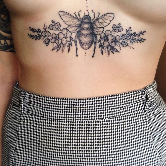 Bees bee tattoo nature pretty ribs skin girl underboob chest floral flowers: