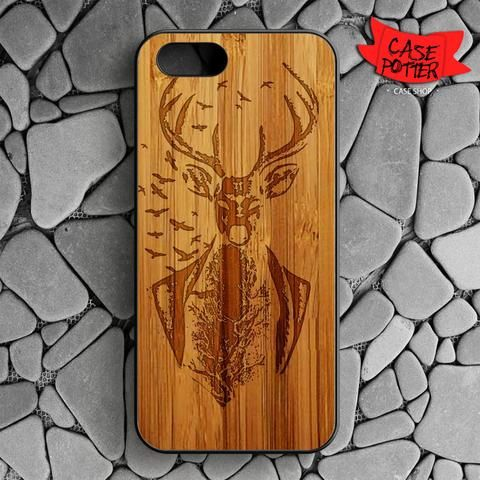 Deer Wood iPhone SE Black Case