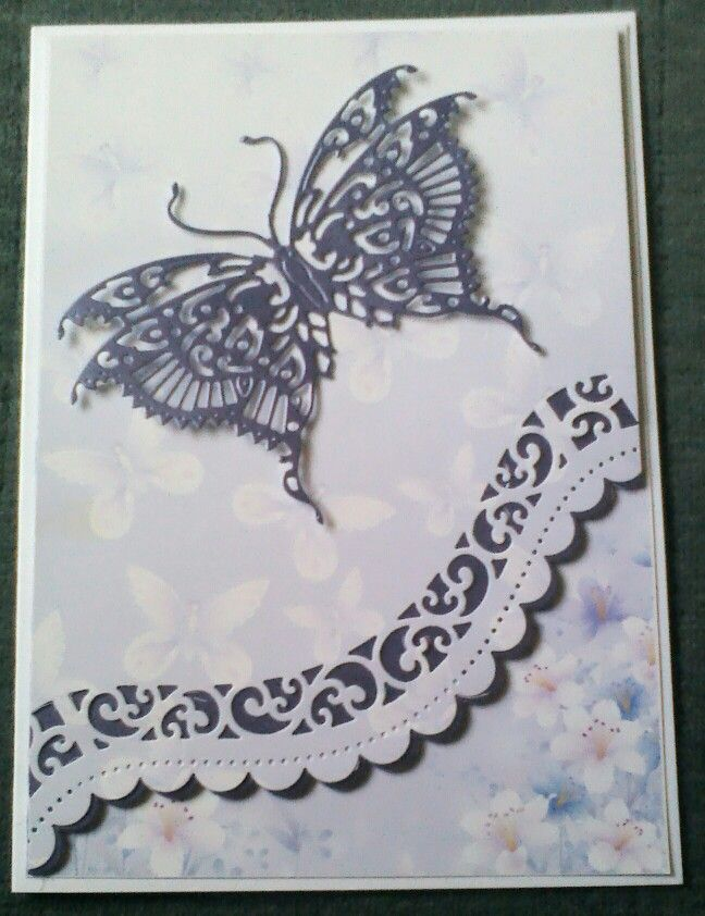 Card Making Ideas Using Dies Part - 36: Card Using Tattered Lace And Spellbinders