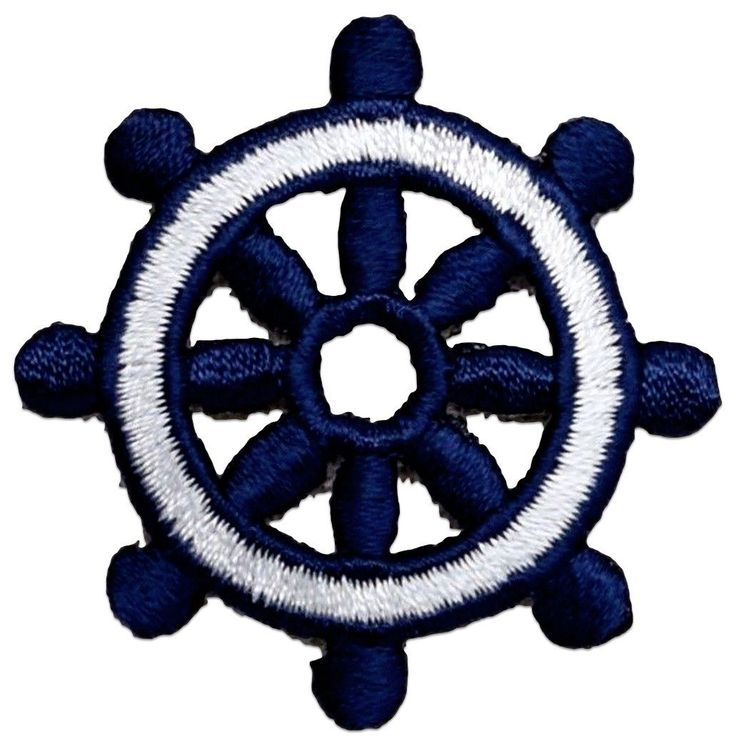 "Amazon.com: [Single Count] Custom and Unique (1.7"" Inches) Nautical Ocean Seaman's Ship Traditional Boat Steering Wheel Iron On Embroidered Applique Patch {Blue & White Color}"