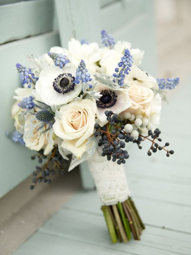 20 Something Blue Wedding Bouquets | SouthBound Bride | http://www.southboundbride.com/something-blue-wedding-bouquets | Credit:  Photography by Erika Parke/Elyse Jennings Weddings via The Knot