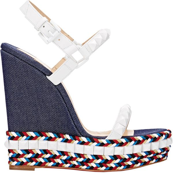 Christian Louboutin Studded Cataclou Platform Espadrilles ($795) ❤ liked on Polyvore featuring shoes, sandals, blue, ankle strap platform sandals, christian louboutin sandals, open toe sandals, ankle tie sandals and blue shoes