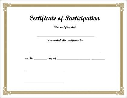 printable certificate of participation certificate of participation templates blank certificates 52 free printable certificate template examples in pdf