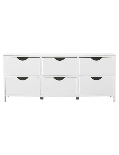 This sleek six-drawer cabinet will bring practical style to any living space.