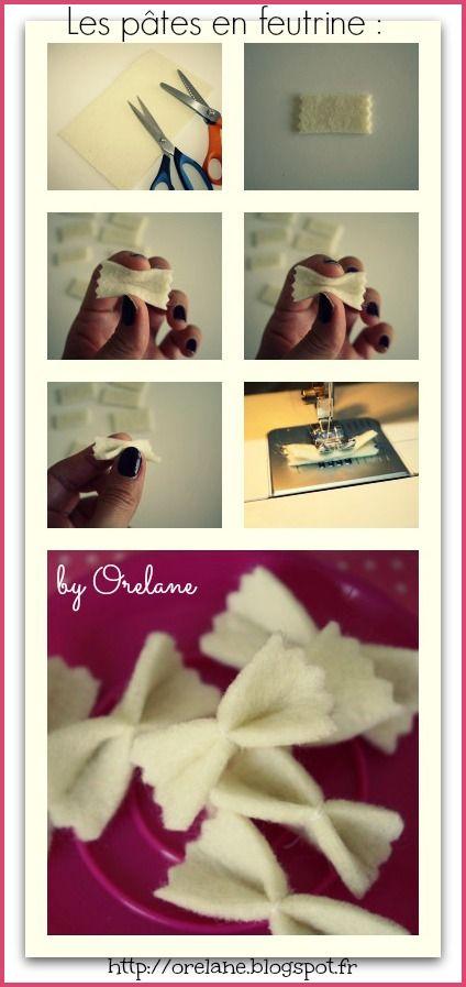 DIY : Des pâtes en feutrine pour jouer à la dinette ▷◁