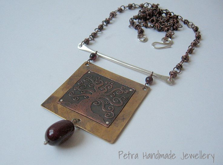 Tree of Life necklace, etching on copper, bronze and silver by Petra Handmade Jewellery