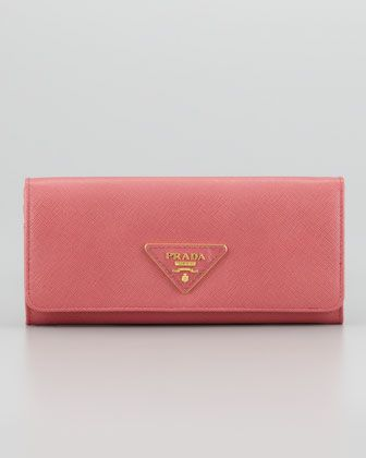 Saffiano Triangle Continental Flap Wallet, Pink by Prada