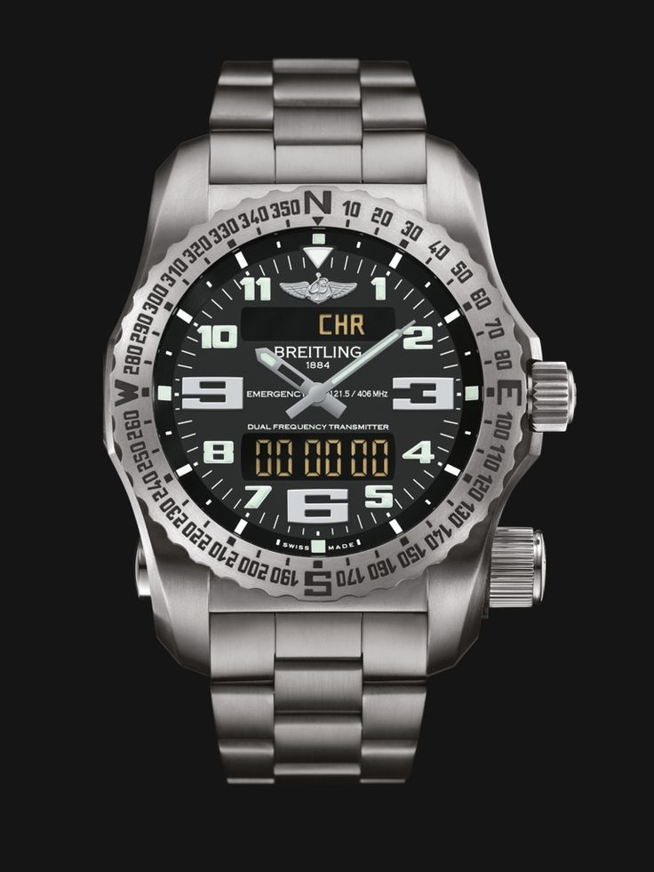 Emergency watch by Breitling - built in dual-frequency Personal Location Beacon, stainless steel case and bracelet with black dial