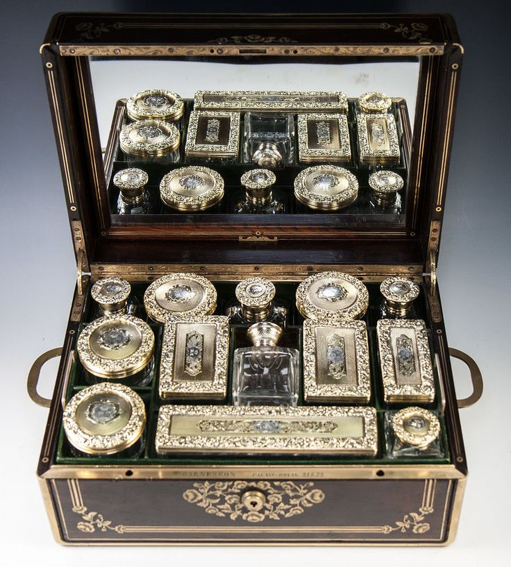 Crown 19th c Antique French Palais Royal Dressing Travel Vanity Set, 18k Vermeil #GarnessonPalaisRoyal