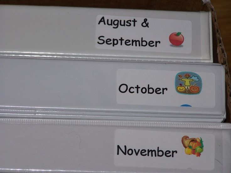 use a binder for each month to organize ideas for homeschool or preschool activities