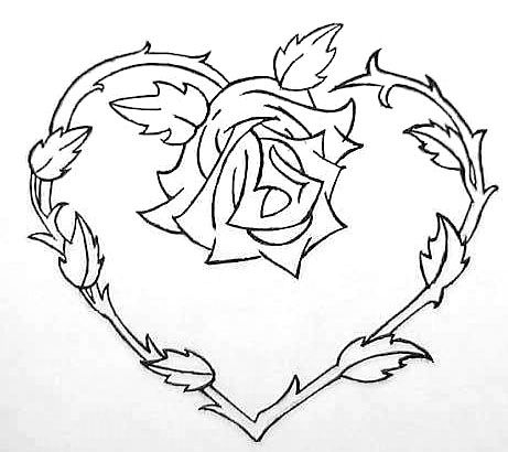 Heart And Rose Flowers to Color