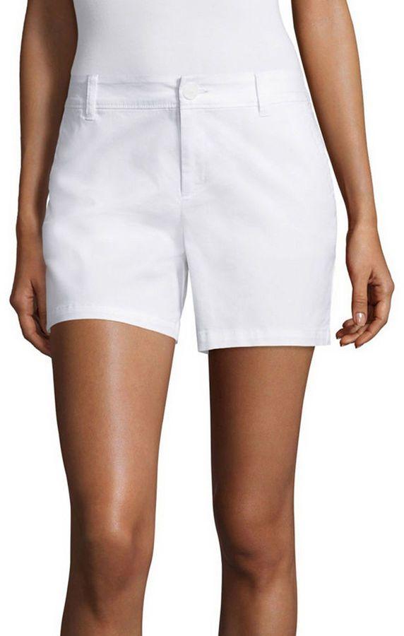 LIZ CLAIBORNE Liz Claiborne 5 Twill Chino Shorts