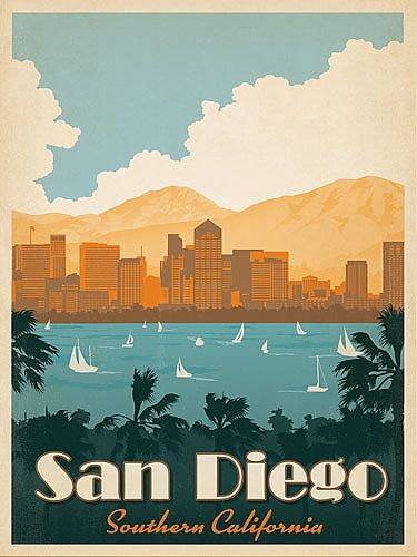 San Diego Travel Poster = for the living room
