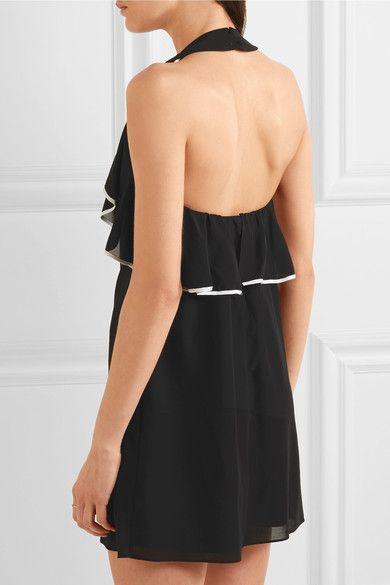 Alice Olivia - Gwenie Ruffled Silk-blend Halterneck Mini Dress - Black - x small
