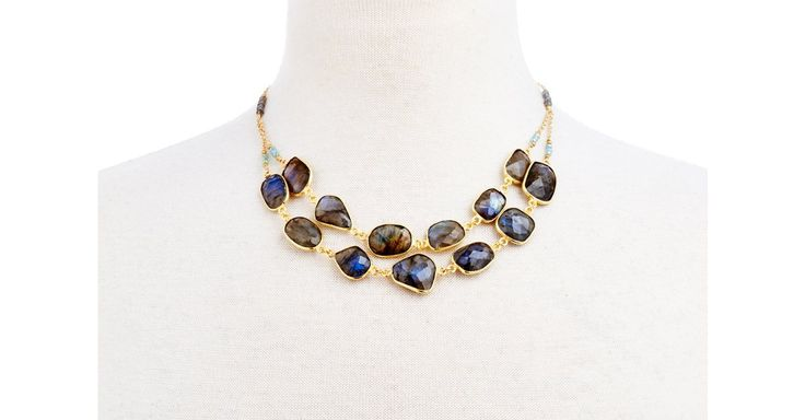 Organically shaped labradorite bezels link together in two layers to form this beautiful statement piece. Both layers of labradorite hang softly from delicate gold rope chains interspersed with...